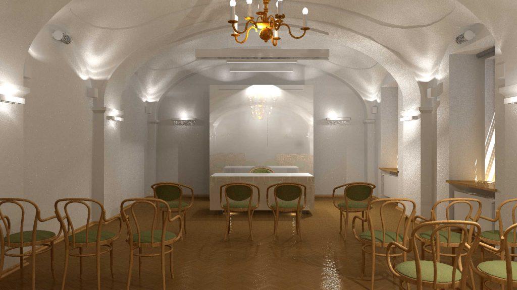 Projekt sali ślubów- wnętrze z widokiem na pulpit.