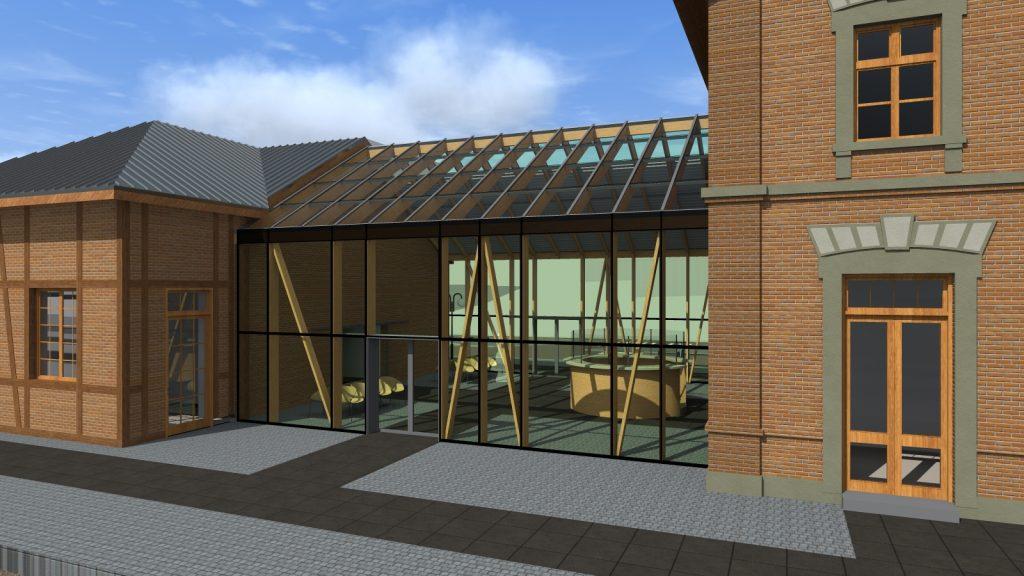 Projekt węzła przesiadkowego widok budynku zabytkowej stacji