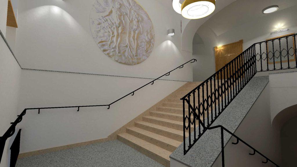 Projekt sali ślubów- widok klatki schodowej