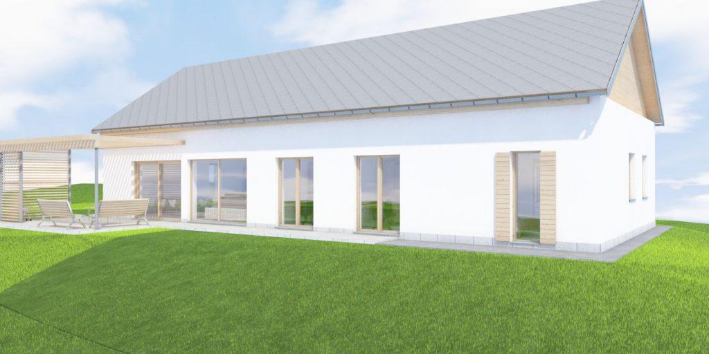 Projekt domu w Cieszynie widok od strony ogrodu
