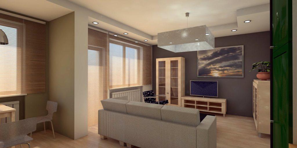 projekt wnętrz mieszkania z widokiem na część wypoczynkową