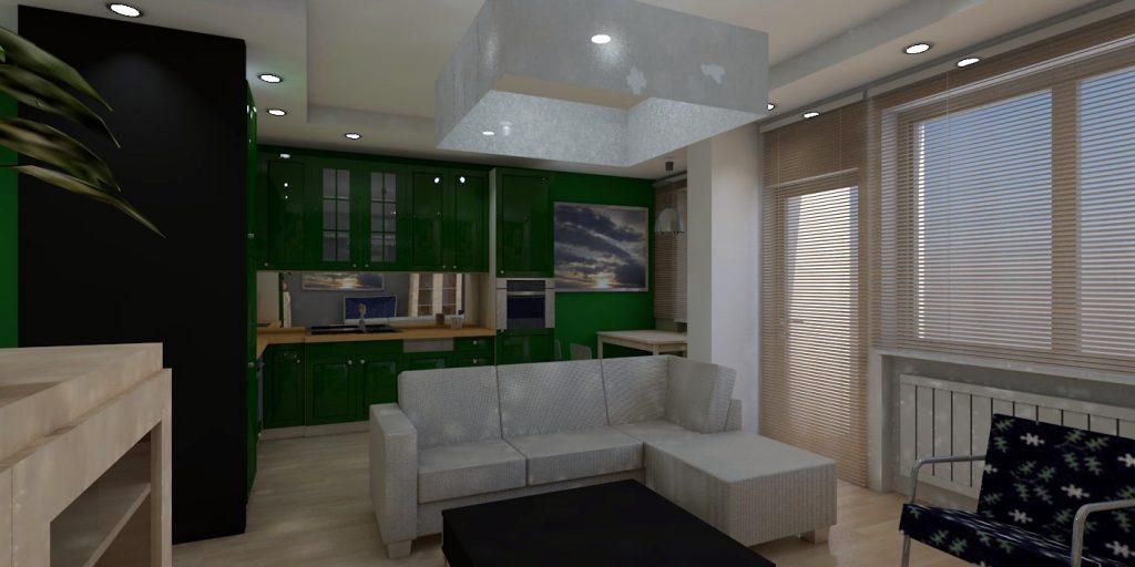 projekt wnętrz mieszkania widok kuchni