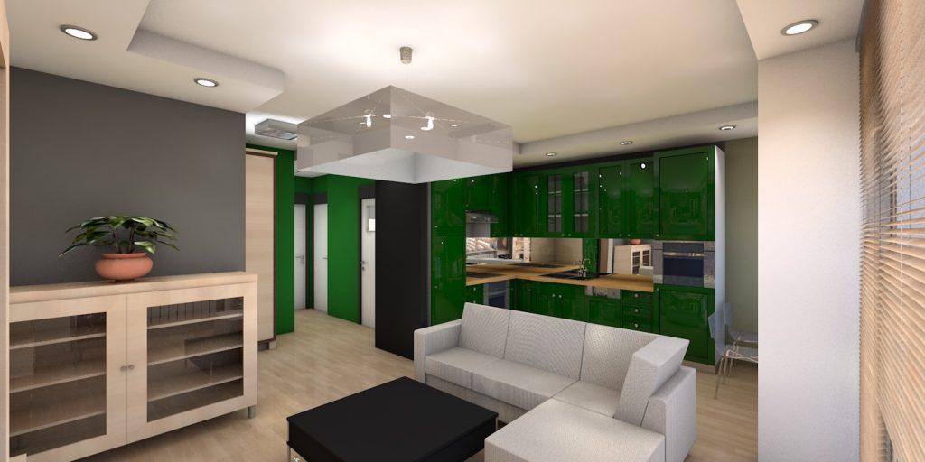 projekt wnętrz mieszkania z widokiem na część dzienną