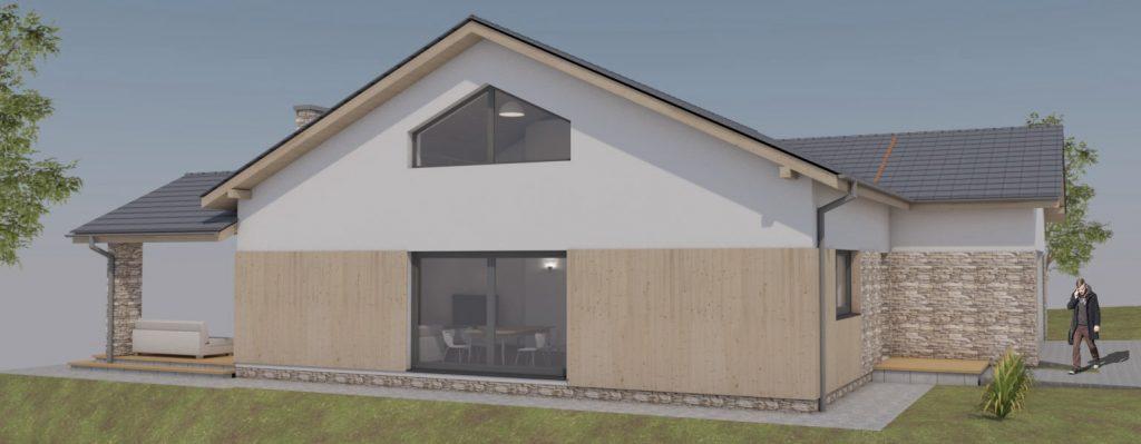 Projekt domu Jastrzębie Zdrój-elewacja zachodnia